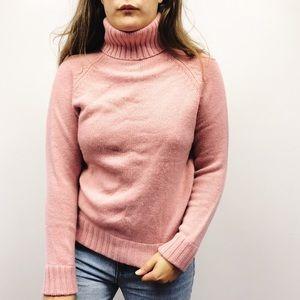 White + Warren   Pink Turtleneck Cashmere Sweater